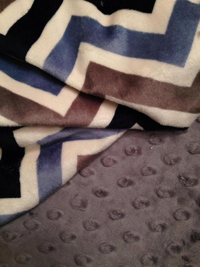 Blue Minky Chevron Blanket  Grey Navy Grey Minky Dot Back  Toddler or Lap