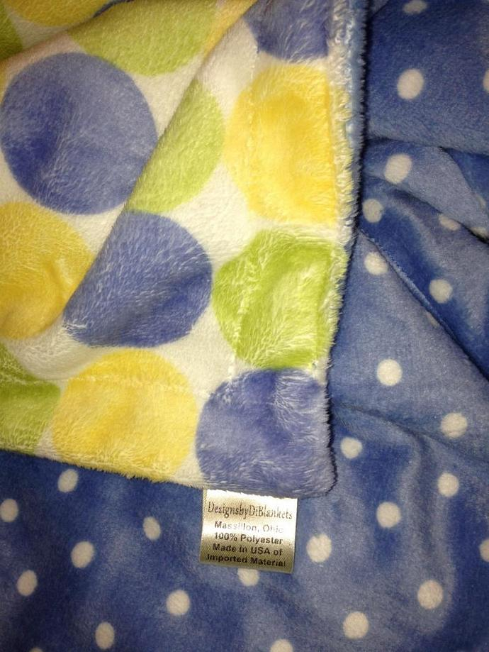 Minky Baby Blanket Blue Yellow Green Retro Dot Blue Polka Dot Back Infant Car