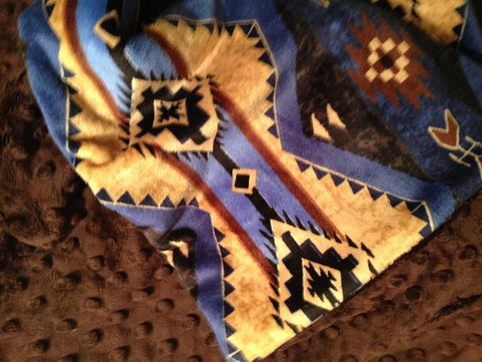 Blue Minky Blanket  Brown  Aztec Print Brown Minky Dot Back  Cabin Throw  Adult