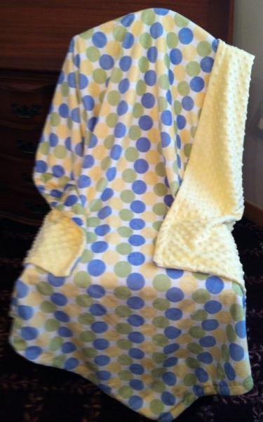 Yellow Minky Baby Blanket  Blue Sage Green Retro Circle Minky Dot Back  Car Seat
