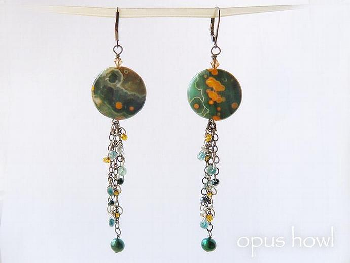 Ocean Jasper Long Dangle earrings