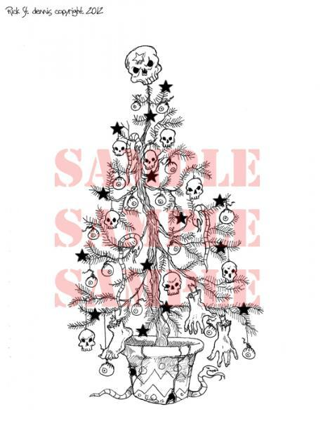 Creepmas Tree black starz digi stamp