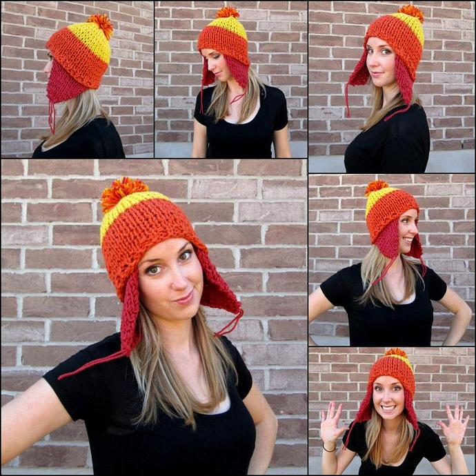 Cunning Hand Knit Hat - 100% Acrylic Hat in Brick, Pumpkin and Glowing Gold