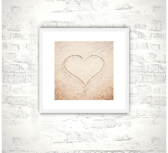 Heart, Love Photography - 8x8 Beach Print - Beige Light Brown Wall Art