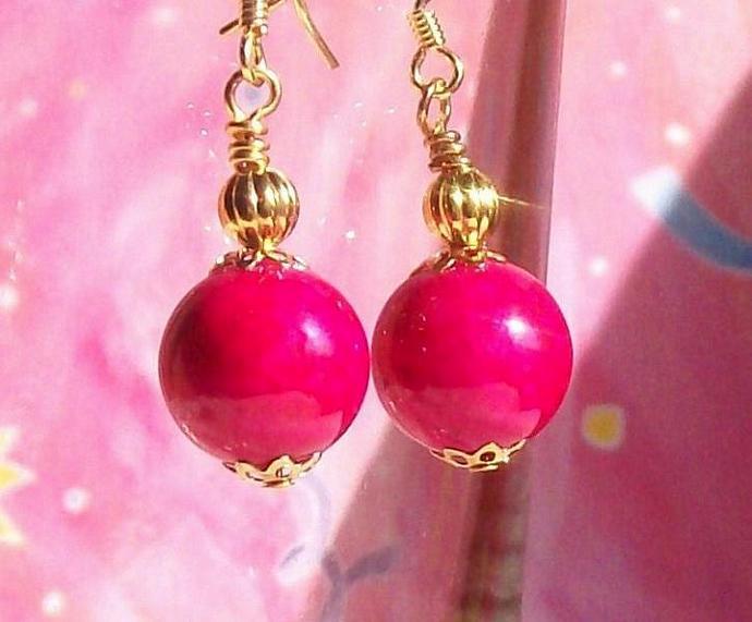 Bright Pink Fossil Gemstone Jewelry Earrings