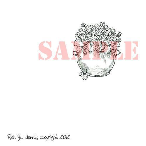 Bowl of Violets digi stamp