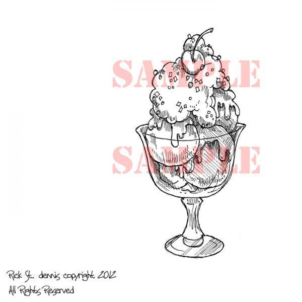 Ice Cream Sundae digi stamp