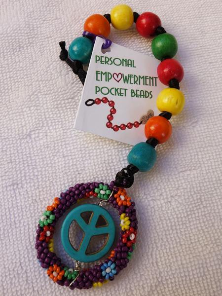 Multi-Colored Wood PEP Beads with Flower and Peace fob (#W13005)