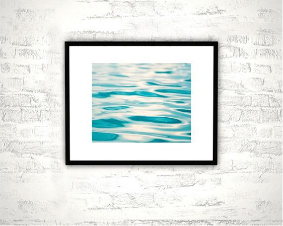 Water Ripple Photography - 8x10 Abstract Ocean Print - Aqua Blue Sea Photo,