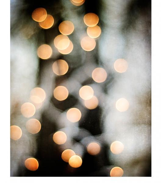 Abstract Lights Photography - 8x10 Bokeh Print - Black Gold Grey, Gray