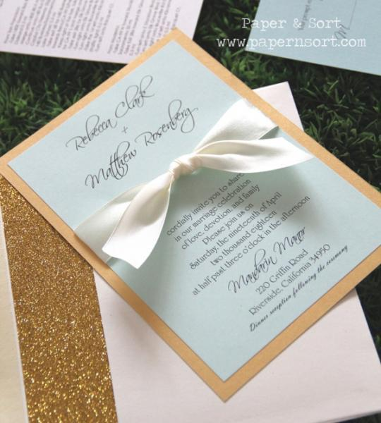 Classic Formal Ribbon Wedding Invitation Set with Sparkly Envelope Liner -