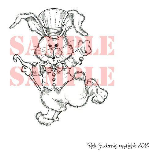 Running  Bunny digi stamp