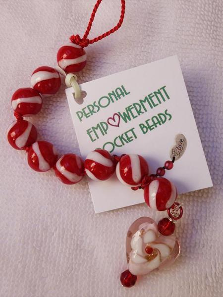 Red and White Glass Heart PEP Beads (#G13023)