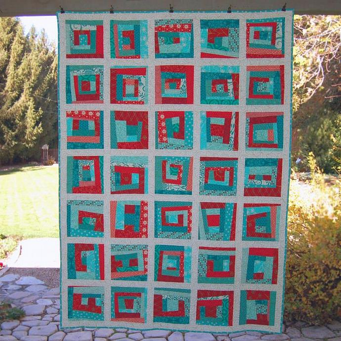 Red + Aqua = Love, Handmade Quilt