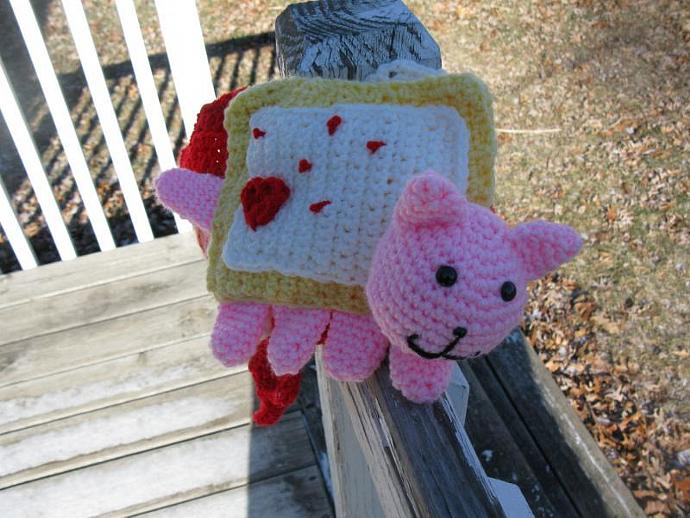 Valentines Nyan Cat Scarf hand crocheted