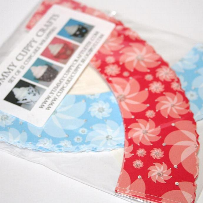 2 PACK Pinwheel-Blue Red Cupcake Wrappers (24)