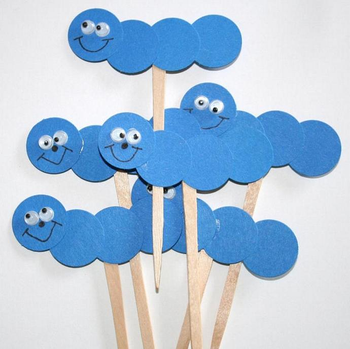 Caterpillar Cake Picks/Cupcake Toppers (set of 6)