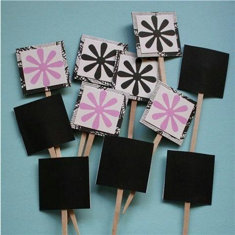 Black and Pink Flower Cake Cupcake Picks (12)