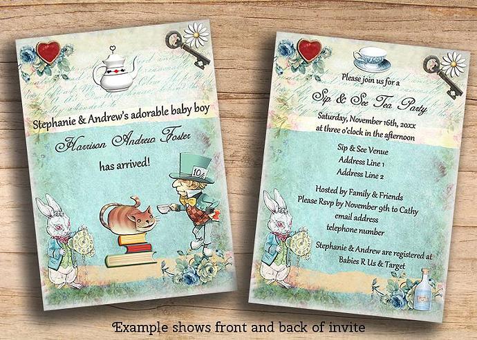 alice in wonderland sip & see baby | mollyskyinvitations, Baby shower invitations