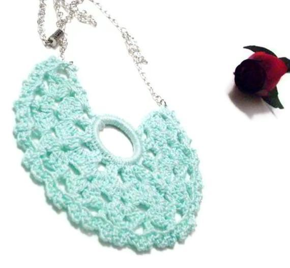 Crocheted mini doily bib necklace in aqua cotton BIG