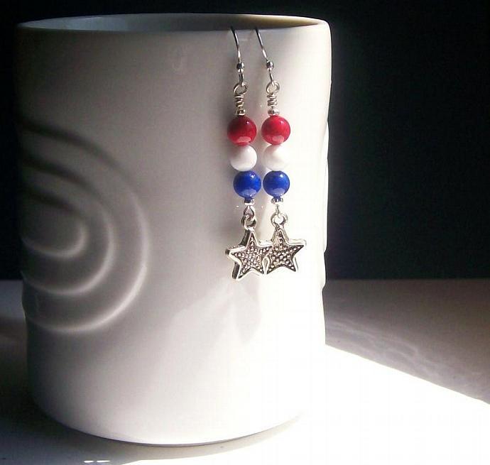 Patriotic Gemstone Earrings, Red White & Blue Beaded Earrings, Dangle Star Charm