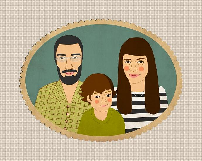 Custom portrait. Custom family portrait .Custom cartoon portrait. quirky vintage