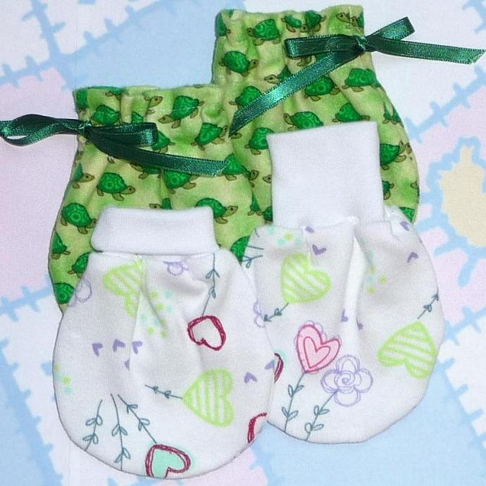 NO SCRATCH BABY MITTENS PATTERN, Includes 3 sizes Preemie to 3 mths, PDF
