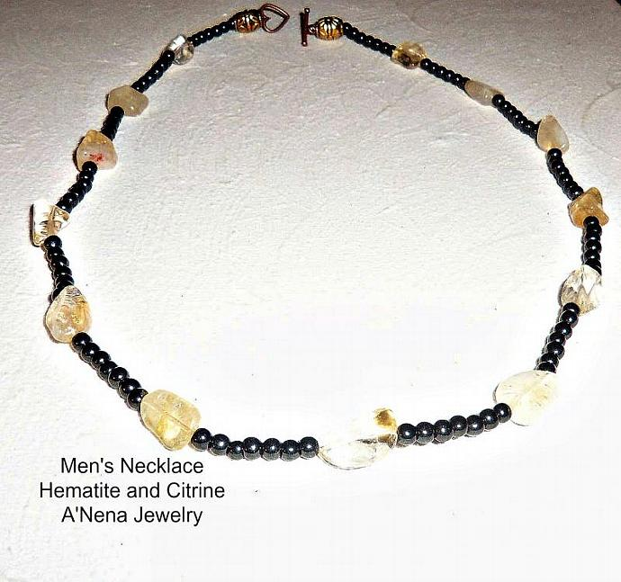 "Men's Hematite and Citrine Necklace ""Success , Prosperity and Balance"""