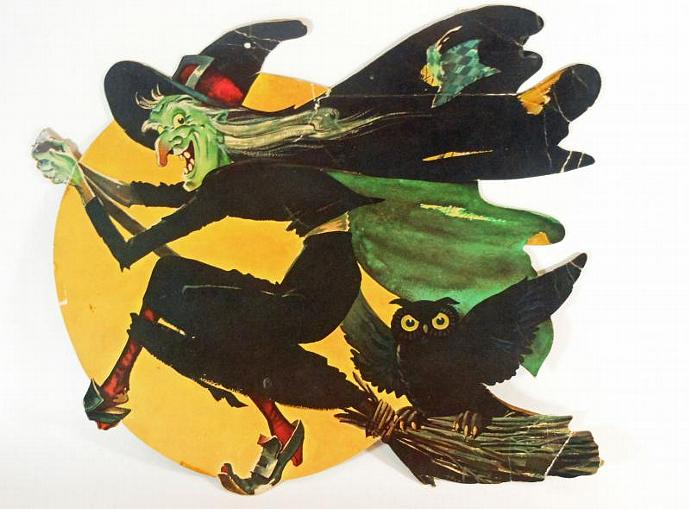 vintage halloween witch diecut paper decoration - Halloween Witch Decoration
