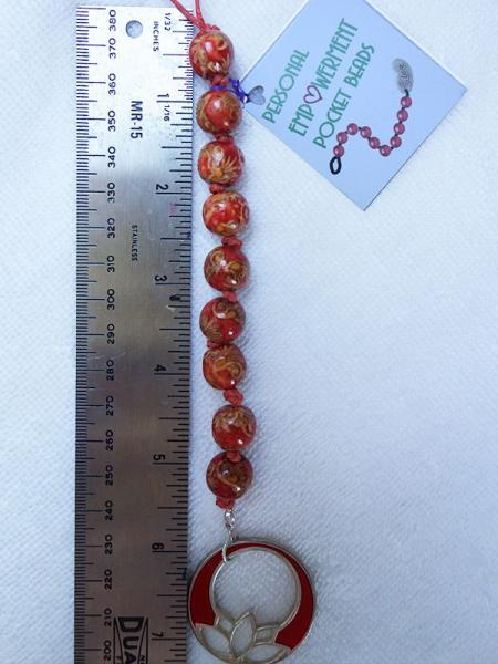 Painted Wood PEP Beads with Lotus fob (#W13011)