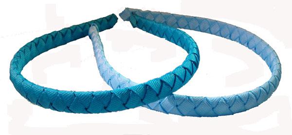 2 Woven Skinny Headbands all Blue