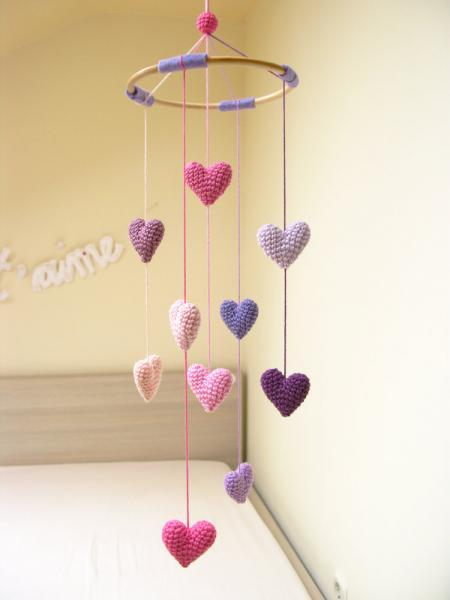 Baby Heart Mobile, Nursery Mobile, Crib Heart Mobile, Baby Shower Gift for