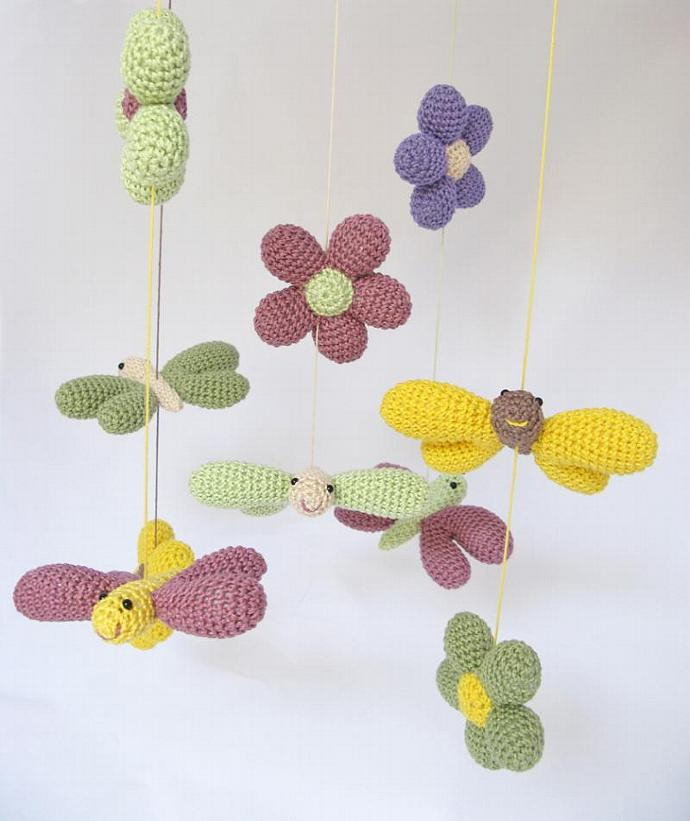 Butterfly and Flower Baby Mobile, Nursery Mobile, Nursery Decor, Nature Inspired