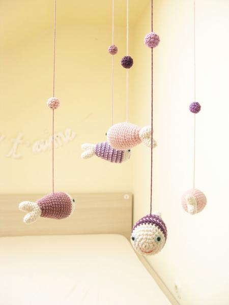 Baby GirlsMobile, Nursery Mobile, Nursery Decor, Fish Decor, Blue, Sea Animals