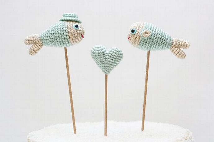 Mint Wedding Cake Topper, Fish Cake Topper, Beach Nautical Decor, Centerpiece