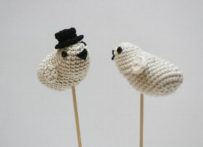 Wedding Cake Topper Love Birds White Wedding