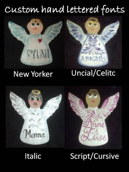 March/Aquamarine Custom Hand painted Wooden Angel Ornament -