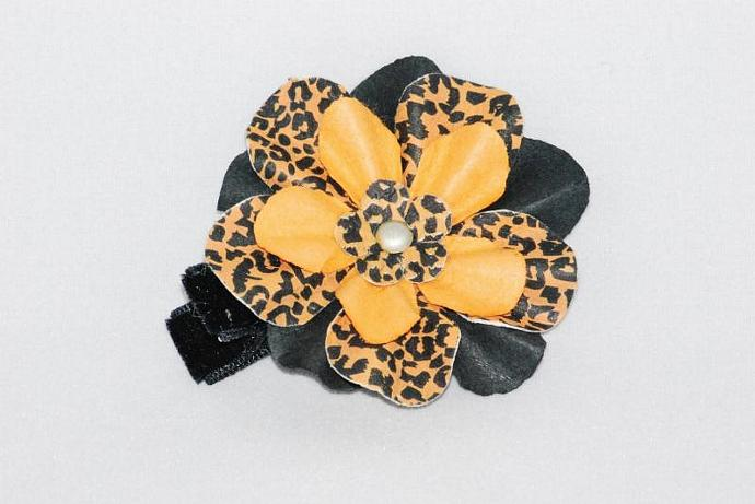 Orange Cheetah Flower Hair Clippie