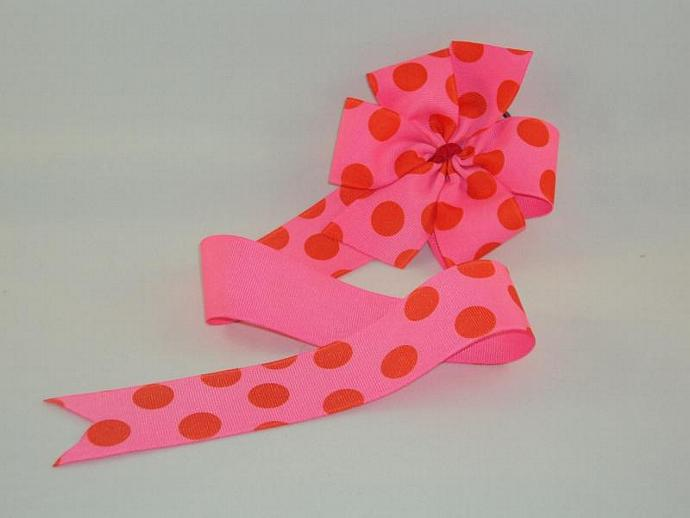 Pink and Red Dots Bow Holder
