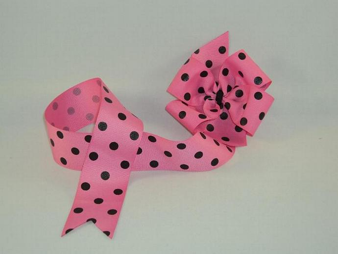Pink and Black Dots Bow Holder