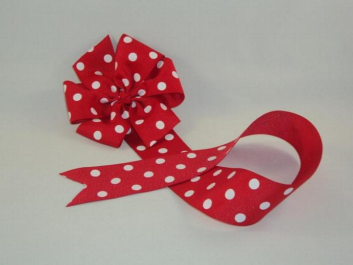 Red and White Swiss Dots Bow Holder