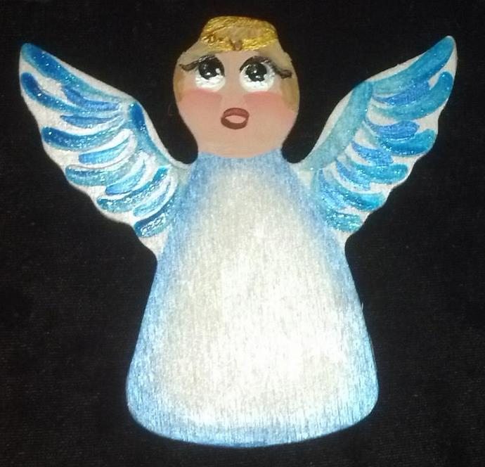 September/Sapphire Custom Embellishment Hand painted Wooden Angel Ornament