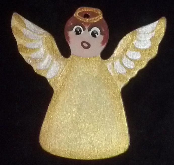 November/CitrineTopaz Custom Embellishment Hand painted Wooden Angel Ornament