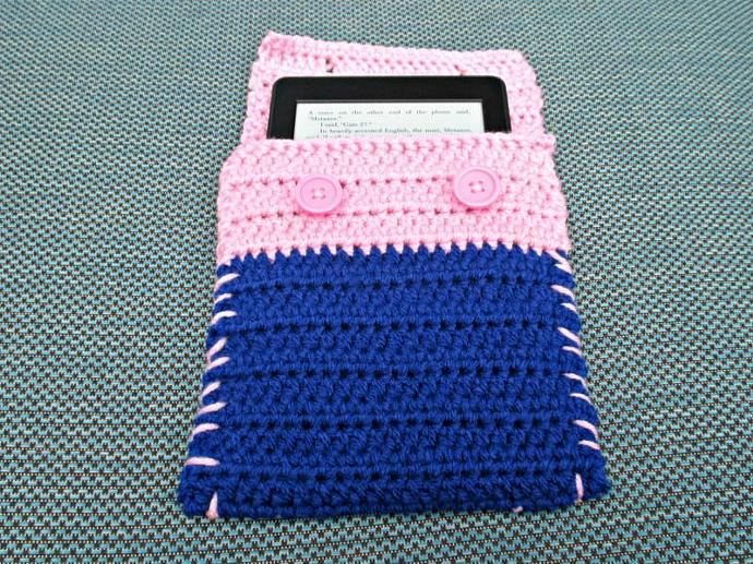 Cover for Kindle E-Reader- Pink and Blue