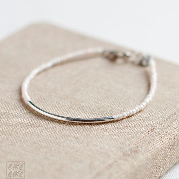 Silver Bar Bracelet with white seed beads - Friendship Bracelet - minimalist