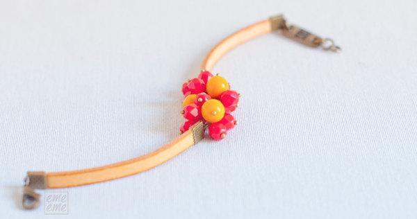 Orange Charm Bracelet - orange ribbon with cherry red and orange glass beads  -