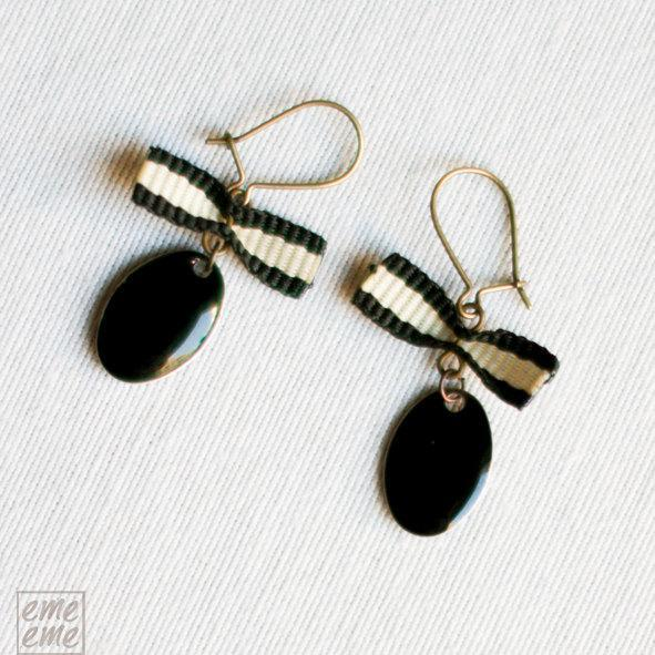 Enamel Earrings- Oval Black Dome Charm and black and white bow