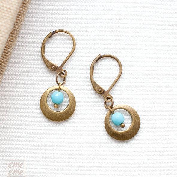 Hoop earrings with light blue glass bead - blue jewelry - Drop earrings -