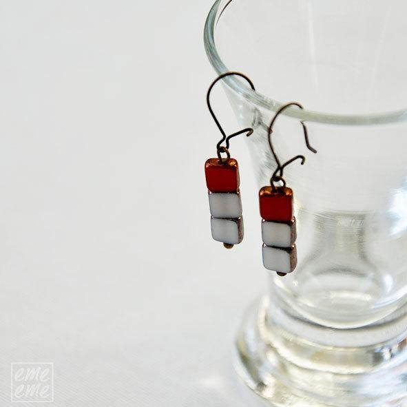 Czech glass Earrings - red and white czech glass square beads