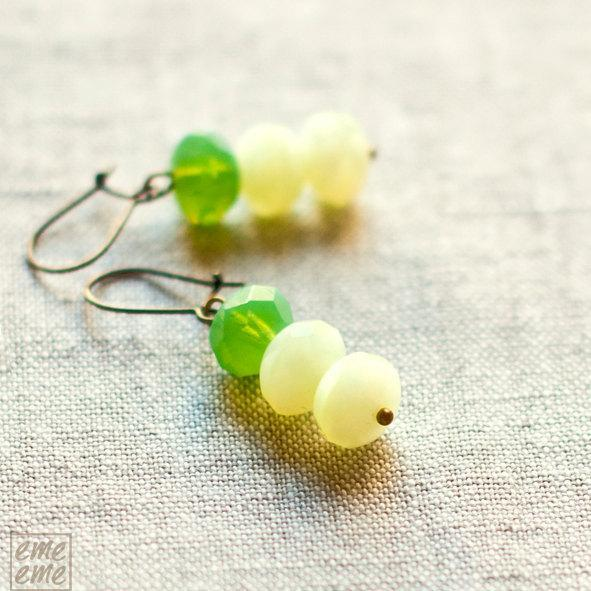 Green Glass Earrings - Czech glass rondelles - green glass faceted beads -